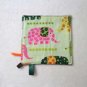 Tribal Elephant Flannel and Minky Toddler Mini Lovey, Pacifier Keeper, Teether, Taggy, Security Lovey, Pocket or Diaper Bag Lovey