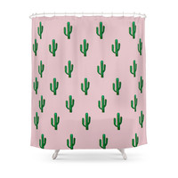 Society6 Pink Cactus Shower Curtains