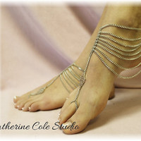 Grecian GODDESS SILVER barefoot sandals for summer fun 1 pr. slave sandals foot jewelry beachwear Catherine Cole BF16