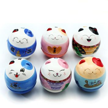 Maneki-Neko Roly-Poly Cat Figurines Ceramic Tumbler Miniatures - 6pcs/Set