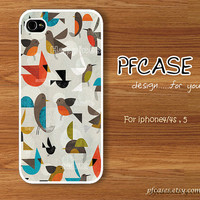 Happiness and smile with birds pattern : Handmade Case for Iphone 4/4s , Iphone 5 Case Iphone