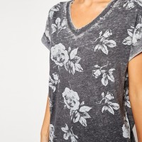 ASOS PETITE Burnout T-Shirt With Winter Floral Print