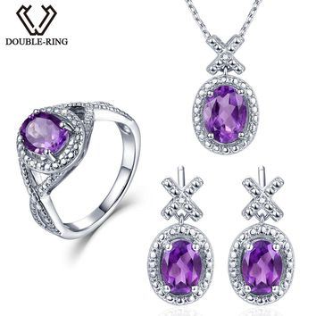 Double-R 0.03ct Natural Diamond earring Ring Pendant Necklace silver 925 4.1ct Real Amethyst Gemstone Jewelry Sets Silver Chain