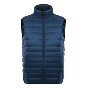 Man Thin Light Waistcoat Vest Down Coat Plus Size   dark blue