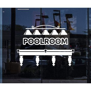 Window Vinyl Wall Decal Poolroom Billiard Club Pool Table Room Art Decor Stickers Mural Unique Gift (ig5240w)