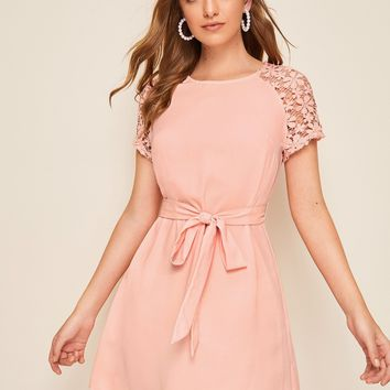 Guipure Lace Sleeve Belted Dress
