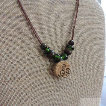 Wine cork necklace Glass beaded necklace Upcycled wine bottle jewelry Statement necklace Wine gift (N017)