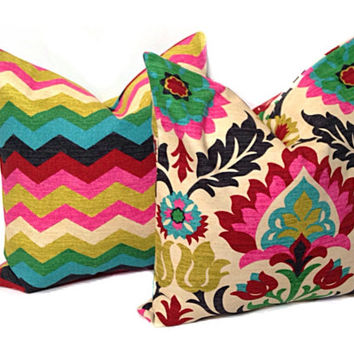 WAVERLY Desert Flower Pillow Covers DECORATIVE PILLOW Covers, Accent Pillows Euro, All Sizes Black Pink Green Gold Red Blue