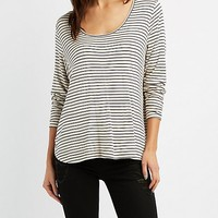 Striped Oversized Scoop Neck Tee