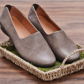2 Colors Handmade Soft Leather Loafers,Oxford Women Flat Shoes,Retro Leather Shoes,brown leather shoes Slip-Ons,Designer Shoes Women Natural