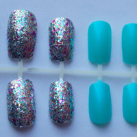 Multicolored Glitter and Bright Teal Fake Nails - False, Artificial, Acrylic, Press-On
