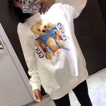 PEAPON Gucci' Women All-match Casual Cute Letter Cartoon Teddy Bear Pattern Print Long Sleeve Sweater Tops