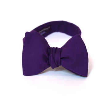 Men's Bow Tie - Amethyst Purple Solid Bowtie - Freestyle self tie - In Stock - SALE now 29.50