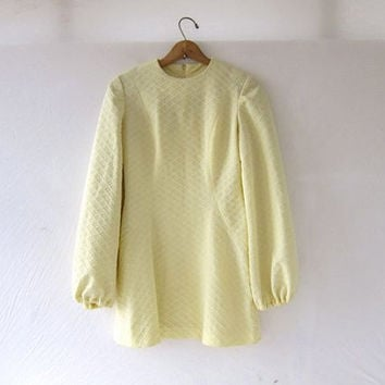 Vintage 60s Mini Dress • Pale Yellow Dress. Billowy Sleeves