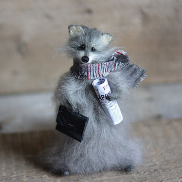 Knitted raccoon with a briefcase, Animal Soft Sculpture, Handmade stuffed animals