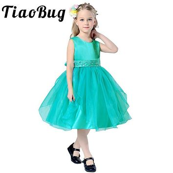 TiaoBug Elegant Flower Girls Summer Princess Wedding Dress Kid Ball Gown Keen-Length Bow Decoration Dresses for Wedding Gowns