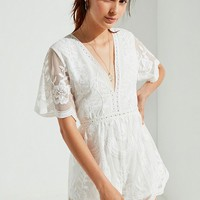 UO Plunging Embroidered Lace Romper | Urban Outfitters Canada
