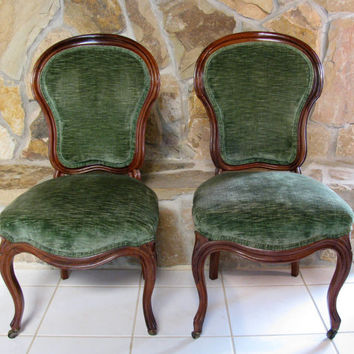 FOR LOCAL PICKUP - Set of Two Antique Victorian Walnut Balloon Back Chairs Green Velvet