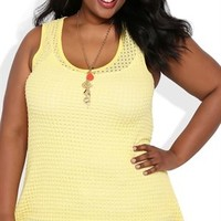 Plus Size Popcorn Tank Top with Sharkbite Hem
