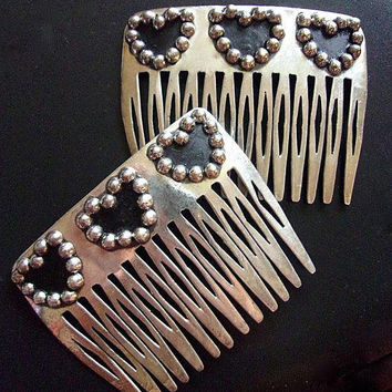 BRENDA SCHOENFELD Sterling Silver Hair Combs, Black Heart Decoration, Taxco, Vintage
