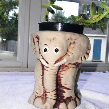 Vintage Clay Elephant Planter or Pencil Holder by BrisNanaJoy