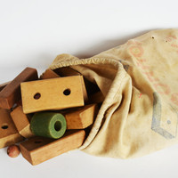 Vintage Toy Blocks, 1950's Children's Wooden Blocks,  BonHop Wooden Building Blocks With Cloth Bag