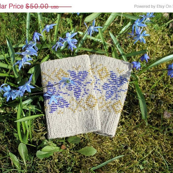 On Sale Arm Warmers, Wrist Warmers Beaded Blue Butterflies, Brownish Wrist Warmers, Unique Handmade Beaded Arm Warmers, Luxurious Cashmere W