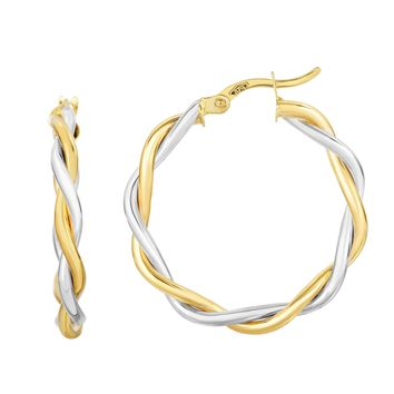 10K Yellow-White Gold 21x3mm Shiny Twisted Double  Wire Extra Light Round Hoop Earring with Hinge Clasp