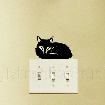 Cute Fox Light Switch Decal - Sleeping Fox Sticker - Kids Room Wall Decor - Fox Laptop Decal - Fox Wall Art - Window Sticker - iPad stickers