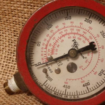 Vintage 1960s Imperial Hi-Side Refrigerant Gauge, 60s Vintage Brass Look Gauge, Vintage Gauge, Steampunk Accents, Old Cool Gauges