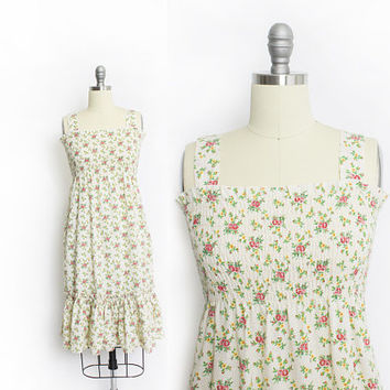 Vintage 1970s Dress - Floral Cotton Smocked Sleeveless Boho Sun Dress - Small