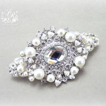 Wedding Hair Clips Swarovski Pearl & Clear Crystal Bridal Hair Clips Barrette Wedding Jewelry hair accessory wedding accessory