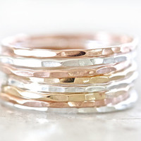 Sterling Silver Stacking Rings / Rose Gold Stacking Ring Set / Stacking Rings Gold / Stacking Rings Silver / Ring Set / Rose Gold Stacking