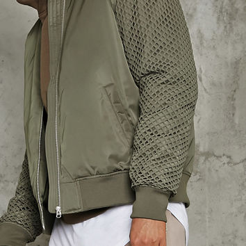 Mesh-Paneled Bomber Jacket