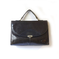 Vintage ladies small black leather document satchel or brief case