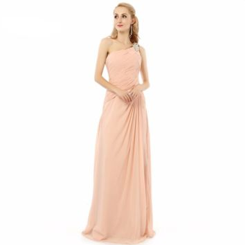 One shoulder Chiffon Elegant Formal Gowns Floor length Long Dresses