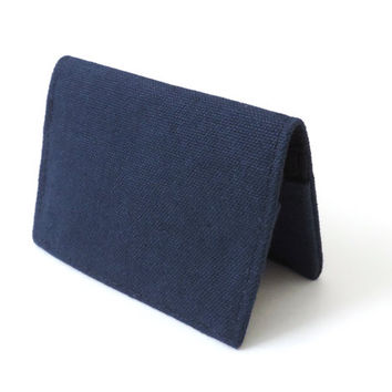 Canvas Fold Wallet Slim Bifold Wallet Blue