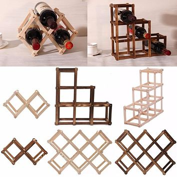 Wooden Red Wine Rack 3/6/10 Bottle Mount Kitchen Holder Exhibition Organizer