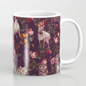 Cat and Floral Pattern Coffee Mug by burcukorkmazyurek