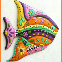 Painted Metal Tropical Fish Wall Hanging - Metal Garden Decor - 25""