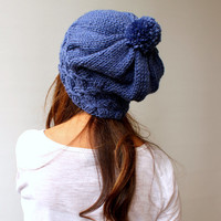 Black Friday Sale Slouchy Beanie Pom pom Hat - Denim Blue/ Chunky / Baggy / Beanie