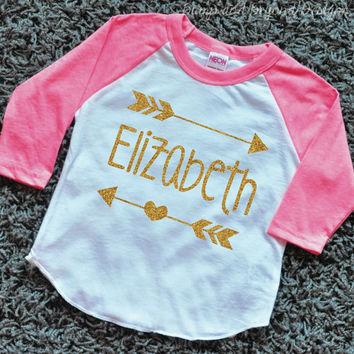 Hipster Baby Clothes Baby Girl Clothes Personalized Name Shirt Gold Glitter Arrow Custom Toddler Raglan Shirt 019