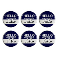 Julio Hello My Name Is Plastic Resin Button Set of 6