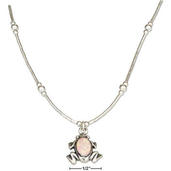 "STERLING SILVER 16"" LIQUID SILVER FROG NECKLACE"