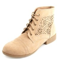 Laser Cut-Out Combat Boots by Charlotte Russe - Tan