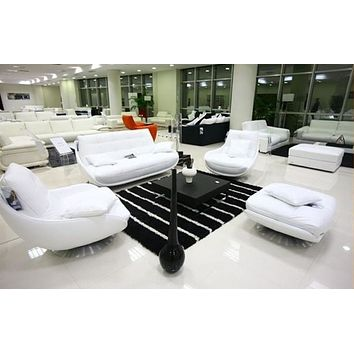 Luxury Rich White 1+2+3  Seater Sectional Sofa With Ottoman