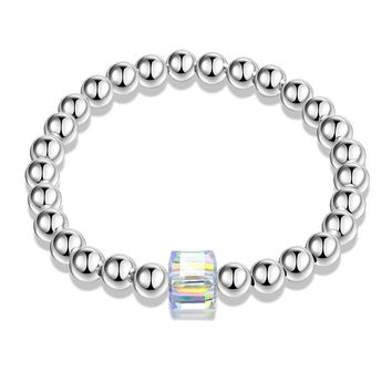 Health Copper Round Beads Stretch Bracelet Made with Swarovski Crystal for Men Women Unisex