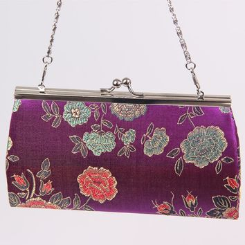 New Classic metal Casual Clutch Evening Bags chain handbag lady with silk 50