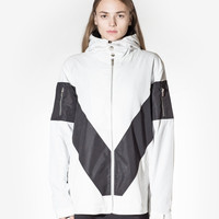 Box-Cut Nylon Sport Zip-Up in White/Black: WMNS