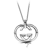 GUCCI Stylish S925 Silver Double G Pendant Necklace Simple Collarbone Chain Silver Accessories Jewelry